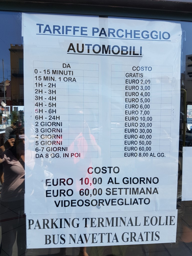 milazzo ferry car park price