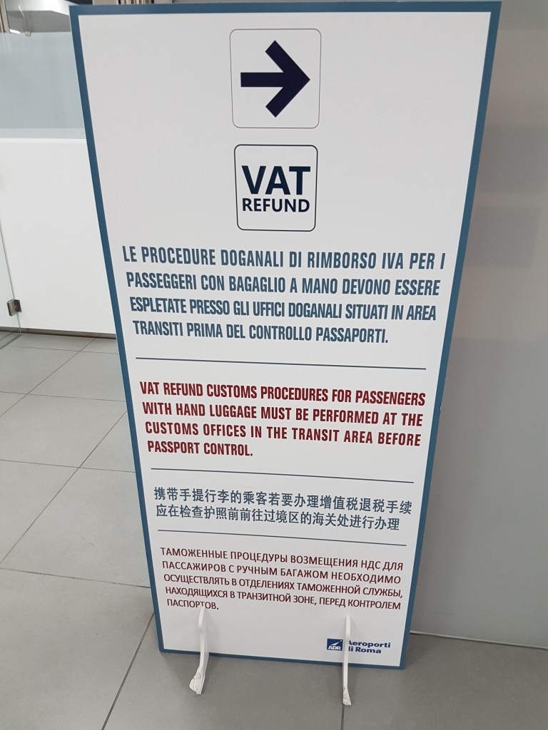 VAT refund sign in romes airport